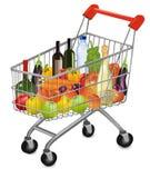 Een boodschappenwagentjehoogtepunt van verse kleurrijke producten. Stock Foto