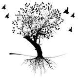 Een boom en wortels stock illustratie