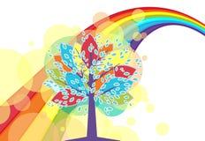 Een boom met een regenboog stock illustratie
