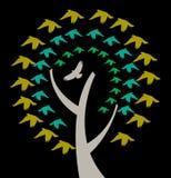 Een boom met het Omcirkelen van Vogels stock illustratie
