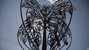 Een boom met huwelijkssloten stock videobeelden