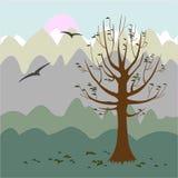 Een boom zonder bladeren Filosofische stemming De achtergrond van de herfst Rode en oranje het bladclose-up van de kleurenKlimop  stock illustratie