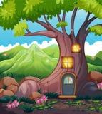 Een boomhuis in het midden van het bos royalty-vrije illustratie