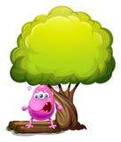 Een boos beaniemonster onder de grote boom stock illustratie