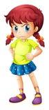 Een boos jong meisje stock illustratie