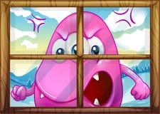 Een boos roze monster buiten het venster vector illustratie