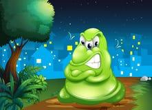 Een boos vet monster over het dorp stock illustratie