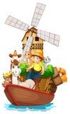 Een boot met landbouwbedrijfdieren en landbouwbedrijfvruchten Stock Afbeeldingen