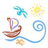 Een boot met een zeil, die in de richting van de zon, een vogel drijven vector illustratie