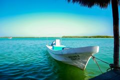 Een boot onder palapa stock afbeeldingen