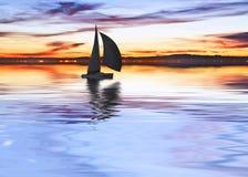 Een boot op het meer stock afbeeldingen