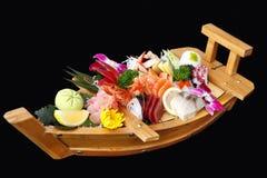 Een boot van sushi Stock Fotografie
