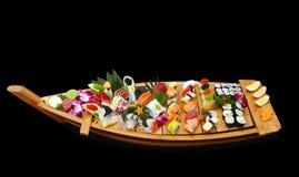 Een boot van sushi royalty-vrije stock foto's
