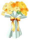 Een boquet van bloemen met een lint Stock Afbeelding