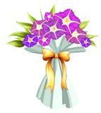 Een boquet van violette bloemen Stock Foto