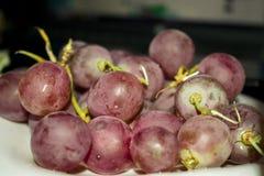 Een borstel van een rode grote druif op een plaat Royalty-vrije Stock Foto's