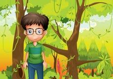 Een bos met een jongen die een oogglas dragen royalty-vrije illustratie