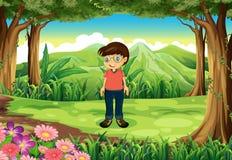 Een bos met een jongen die glazen dragen stock illustratie