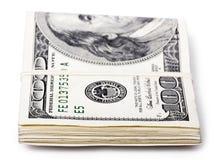 Gevouwen 100 US$ Rekeningen Royalty-vrije Stock Afbeelding
