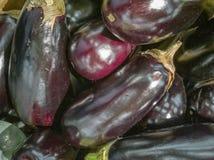 Een bos van aubergines op de lijst stock foto's