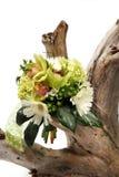 Een bos van bloemen op wit op boomstomp Stock Foto's