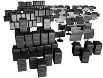 Een bos van computers en monitors stock illustratie
