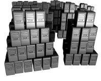 Een bos van computers pilled bovenop elkaar Royalty-vrije Stock Foto's