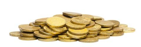 Een bos van gouden muntstukken Geïsoleerd wit Stock Fotografie