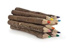 Een bos van kleurenkleurpotloden Stock Foto