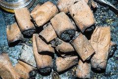 Een bos van onkruidvoorns rookte vers royalty-vrije stock foto