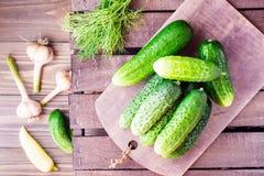 Een bos van vers komkommers, dille en knoflook op een houten lijst Stock Afbeeldingen