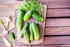 Een bos van vers komkommers, dille en knoflook op een houten lijst Royalty-vrije Stock Afbeeldingen