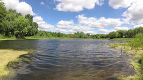 Een bosmeer onder een blauwe hemel met wolken stock videobeelden
