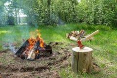 Een in brand gestoken open haard door het meer Gebrande stukken van hout en as in een plaats voor rokende branden stock fotografie