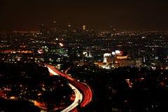 Een brede mening van Los Angeles bij nacht royalty-vrije stock fotografie