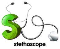 Een brief S voor stethoscoop vector illustratie