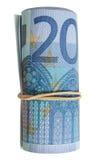 Een broodje van 20 Euro nota's. Royalty-vrije Stock Fotografie