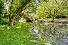 Een brug in het Park stock foto