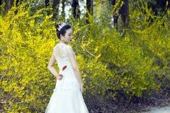 Een bruid met de witte tribune van de huwelijkskleding door Gouden jasmijn bloeit Stock Foto