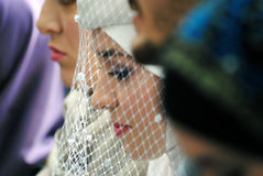 Een bruid met een sluier stock afbeeldingen
