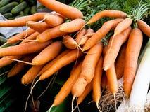 Een bundel van verse wortelen - wortelen Stock Foto