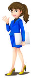 Een bureausecretaresse die een blauw uniform dragen Royalty-vrije Stock Afbeelding