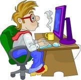 Een bureauwerknemer het werk overwerk Stock Afbeelding