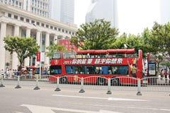 Een bus in Shanghai Stock Foto