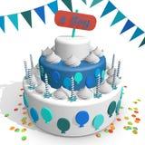 Een cake Vieren de geboorte van een pasgeboren jongen Stock Afbeelding