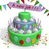 Een cake, viering een nieuwe baan Stock Afbeeldingen