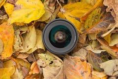 Een cameralens over een gekleurde bladerenachtergrond in de herfst Royalty-vrije Stock Afbeelding
