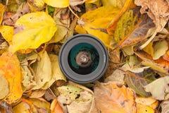 Een cameralens over een gekleurde bladerenachtergrond in de herfst Royalty-vrije Stock Foto