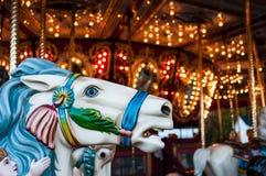 Een carrouselpaard bij de Sandwichmarkt, Sandwich, New Hampshire, 14 Oktober, 2014 stock afbeelding