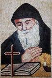 Een ceramisch met de hand gemaakt stuk van St Charbel royalty-vrije stock afbeelding